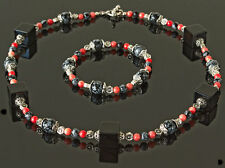 Exclusive, handmade necklace/bracelet set black/orange jet/coral/obsidian/silver