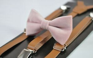 Boy-Kids-Blush-Dusty-Pink-Velvet-Bow-tie-Tan-Brown-Faux-leather-Suspenders