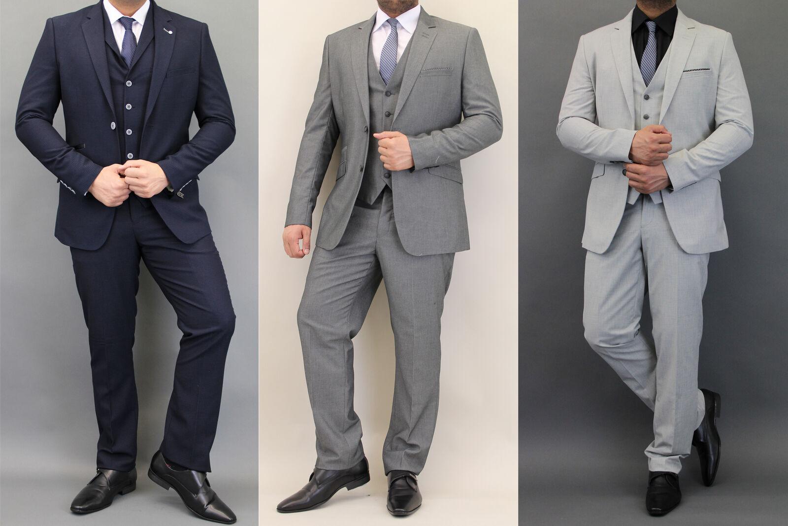 Mens waffle blazers waistcoats trouser slim fit 3 piece suits by Cavani