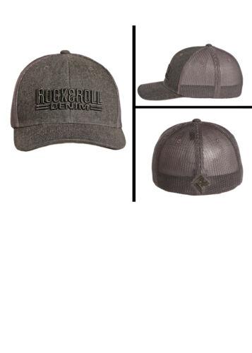 Rock /& Roll Denim Men/'s Grey Denim Flex Fit Trucker Ball Cap CBC4701 MSRP $25.00
