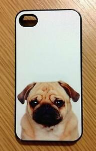 For-iPhone-4-4S-Pug-Puppy-Stylist-Black-Back-Hard-Case-Free-Screen-Protector