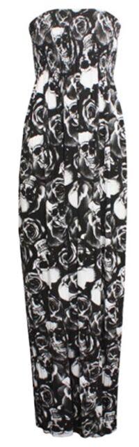 Womens Ladies Plus Size Printed Boob Tube Stretch Sheering Maxi Dress 8 TO  22