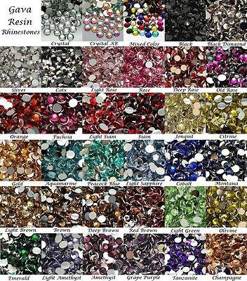 Wholesale 2mm 14 Facets Gava Resin Flatback Rhinestone 34 Colors Crystal