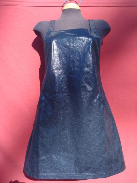 Asos Petite Black Polyester Looks Like as Leather Women's Pinafore Dress  Sz 8
