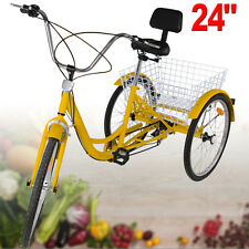 "24"" Adult Tricycle 3 Wheel Bicycle Trike Bike Cruiser With Basket W/ Backrest"