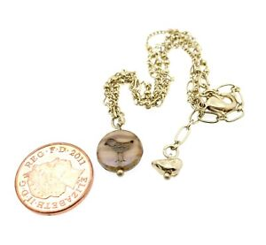 BIRD Charm Glass Disc Ankle Anklet Chain Gold Pink Cream Mix BNWT Made in UK