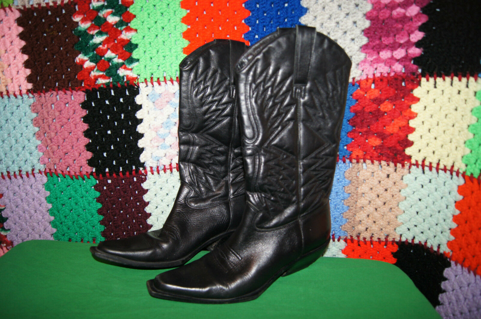MATISSE BOOTS 6  BLACK LEATHER BOOTS 6 WESTERN BOOTS 6 SQUARE TOE BOOTS 6 M