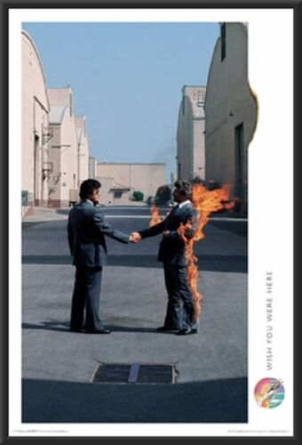 Pink Floyd Wish You Were Here Album Cover Poster in Black Wood Frame 24x36