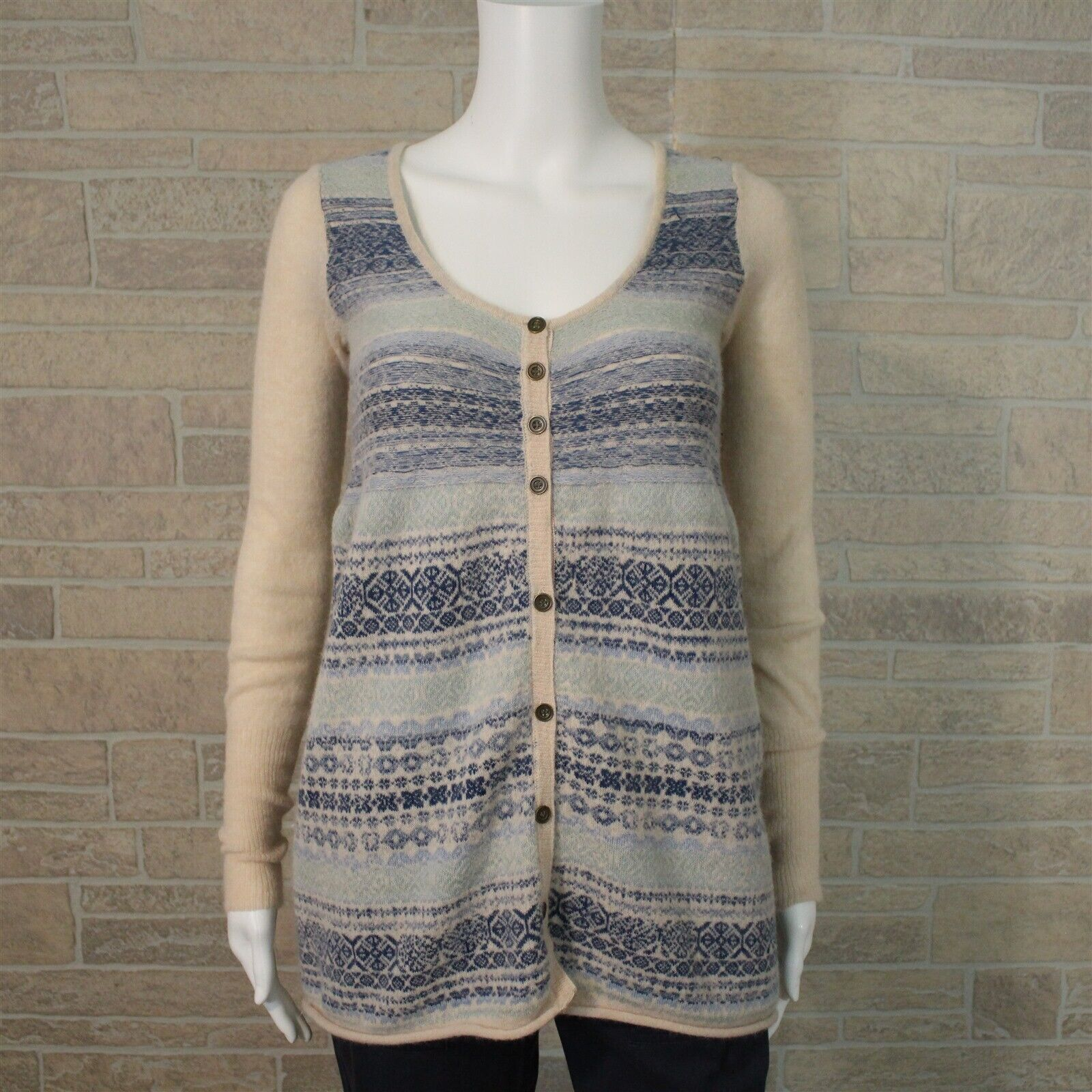 Free People SMALL bluee Ivory Nordic Fair Isle Flare Cardigan Tunic Sweater Top