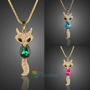 Cute-Fox-Crystal-Pendant-Sweater-Chain-Necklace-Fashion-Jewelry-Alloy-New-gift-A