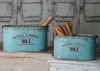 Chic Shabby Set Of 2 Metal Garden Flower Planters,bins Buckets,7.5'' And 10''h