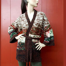 Vintage 70s Hippie Sweater Jacket Brown Boho Hand Knit Bell Slv Cardigan L