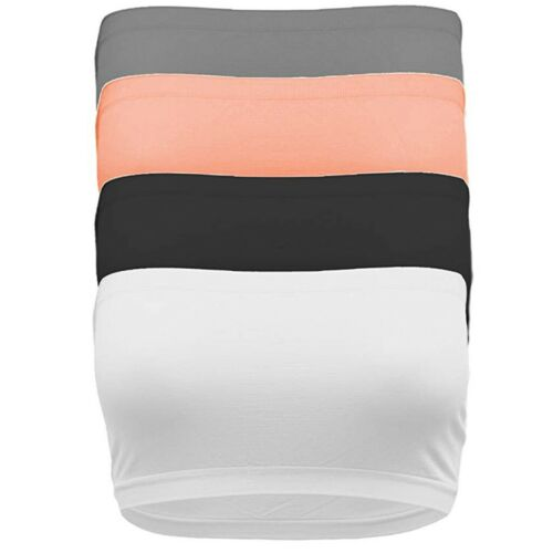 4PC Women/'s Solid Strapless Seamless Active Base Layer Bandeau Tube Top