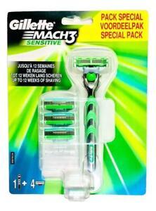Gillette-Mach3-Sensitive-Razor-Handle-4-Refill-Blade-Cartridges