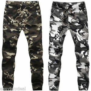 NEW-MENS-CAMO-Tapered-Joggers-GYM-TRACKIES-RUNNING-CUFFED-PANTS-TRACK-PANT-ARMY