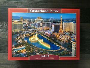 """Brand New Castorland Puzzle 1500 Fabulous Las Vegas 27"""" x 17.5"""" C-151882"""
