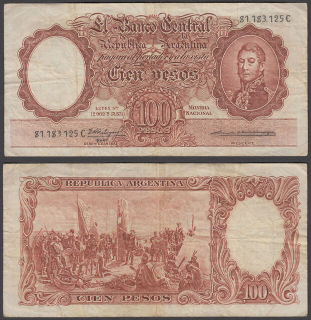 Argentina 100 Pesos ND 1957-67 (F-VF) Condition Banknote P-272