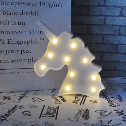 3D Unicorn Head LED Unicorn Table Lamp Night Light Battery Kids Bedroom Lights