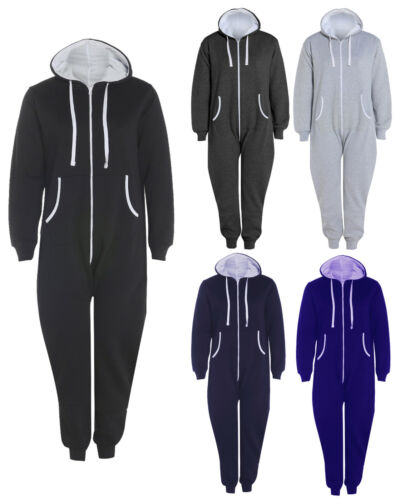 Mens Ladies Plus Size Big Plain 1Onesie All In One Hooded Jumpsuit Sizes S 5XL