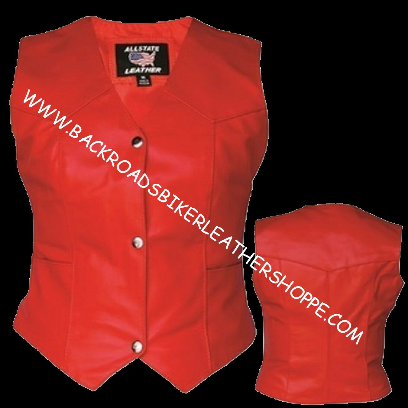Ladies Women's Red Leather Vest Motorcycle Biker - Sizes XS to 5X NWT