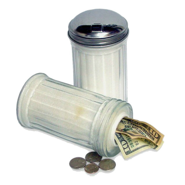Glass Sugar Shaker Diversion Safe Secret Hide Stash Cash Jewelry Money Coins