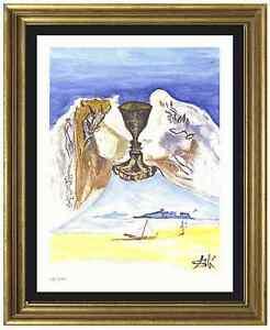 Salvador-Dali-Signed-Hand-Numbered-Ltd-Ed-034-Chalice-Love-034-Litho-Print-unframed