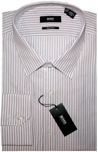 NEW-HUGO-BOSS-WHITE-w-BURGUNDY-amp-PINK-STRIPES-REGULAR-FIT-DRESS-SHIRT-16-5-32-33