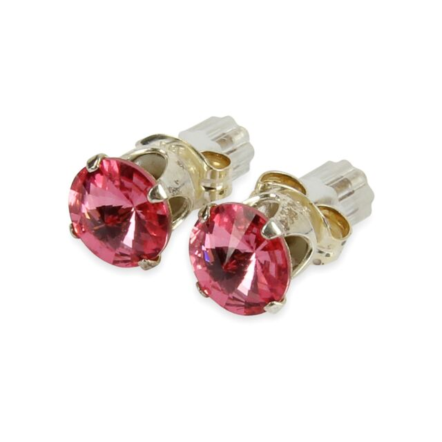 Sterling Silver 6mm Pink Rose Stud Earrings Made With Crystal From Swarovski