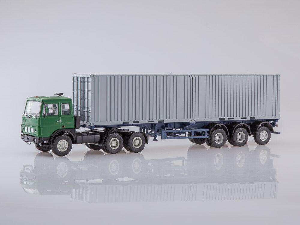 Scale model truck 1 43 MAZ-6422 with semi-container MAZ-938920 1990