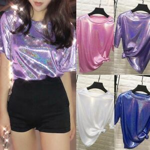 Women-039-s-Shiny-Laser-T-Shirt-Short-Sleeve-Blouses-Tops-Party-Tee-Fashion-Clubwear