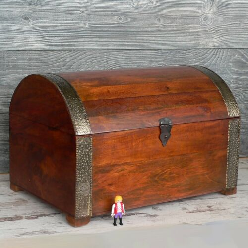 Schatztruhe Holz 53cm groß Mittelalter Piraten Schatzkiste Spielkiste Holztruhe