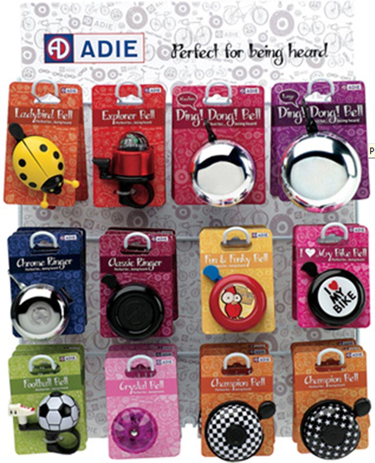 Adie Bell Dispenser (Includes 24 Bells)Kids Bike Bells Display 50mm x 350mm