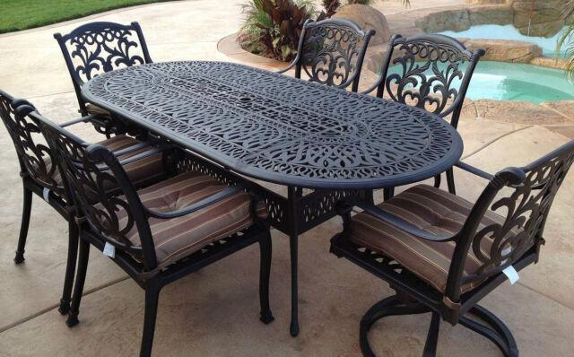 Patio Dining Set 7Pc Cast Aluminum Furniture Outdoor Table Chair Flamingo  Bronze