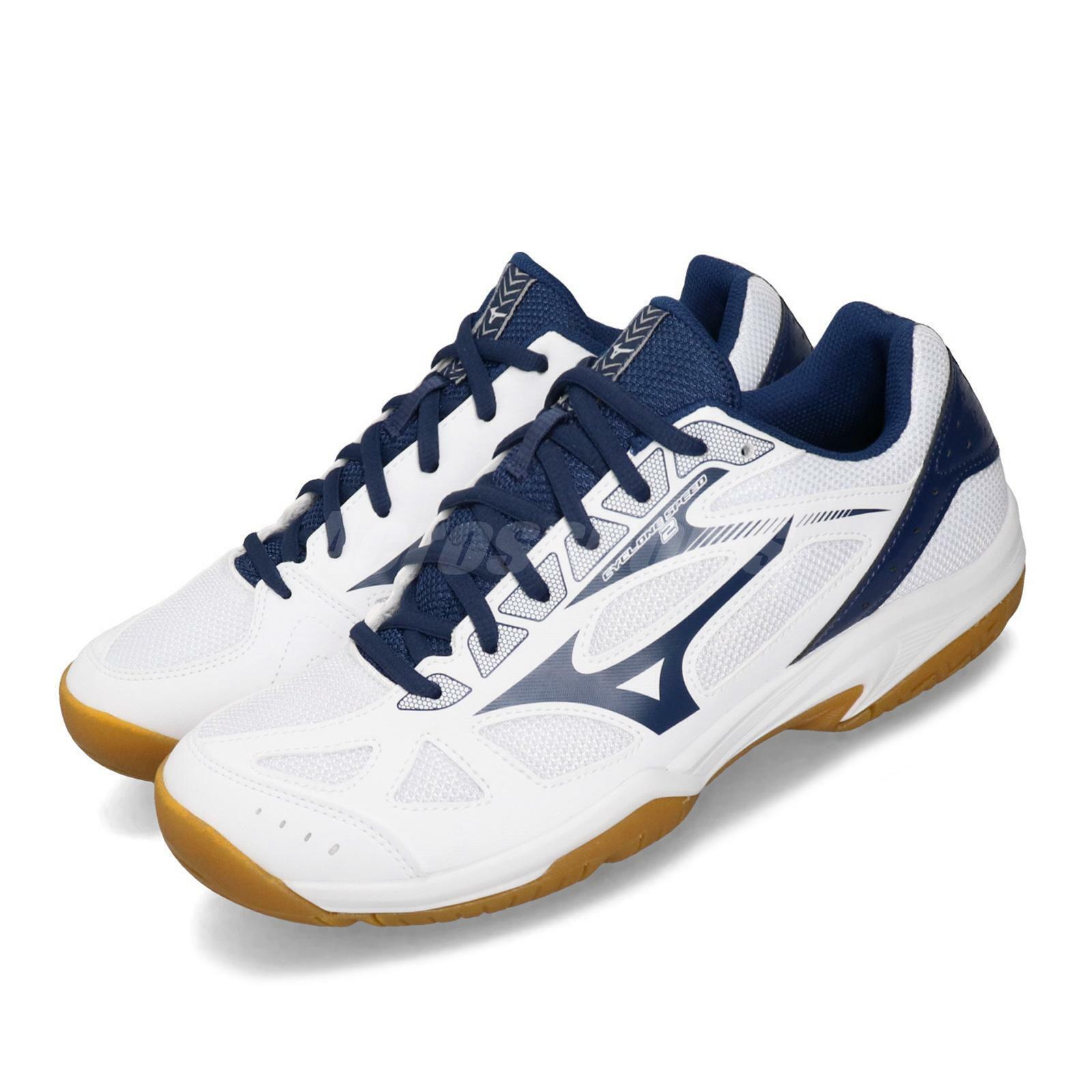 Mizuno Cyclone Speed 2 bianca blu Volleybtutti Badminton sautope sautope da ginnastica V1GA1980-16 Sautope classeiche da uomo