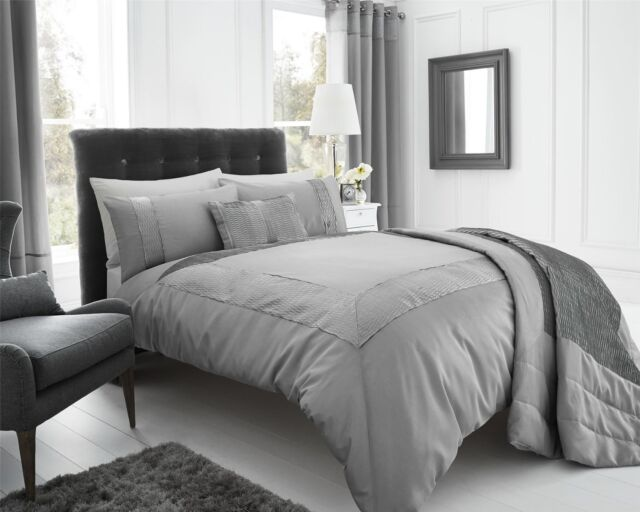 King Size Pearl Silver Duvet Cover Set Grey Slate Faux Silk Crinkle Border