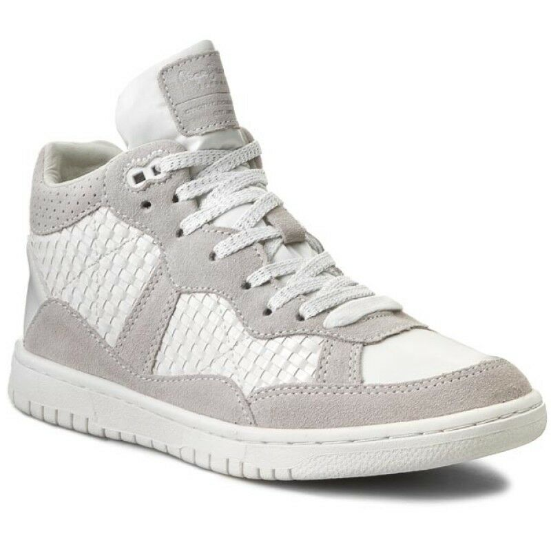 NEU Pepe Jeans Lindsay Woven High Top Trainers Sneakers WEISS Sz-UK 5 -