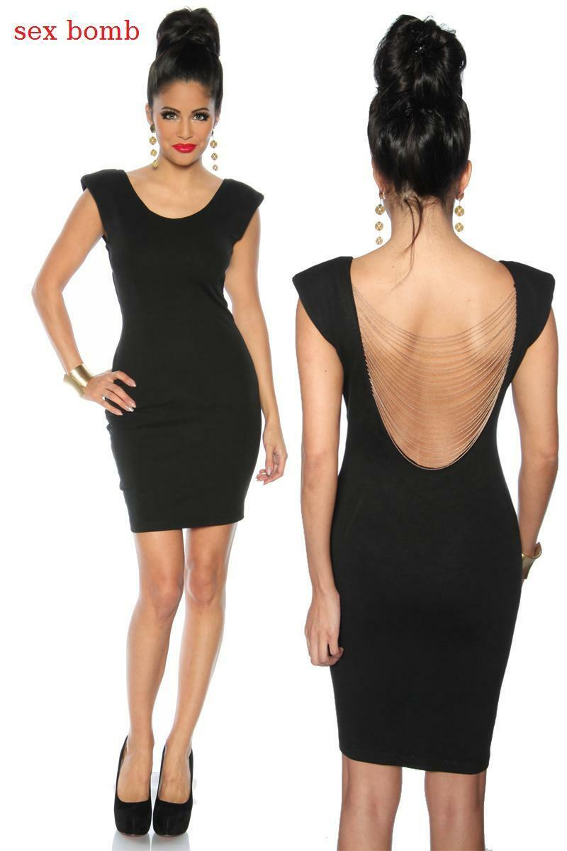 SEXY abito black gold RAFFINATO S M L (40,42,44) catenine dorate fashion GLAMOUR