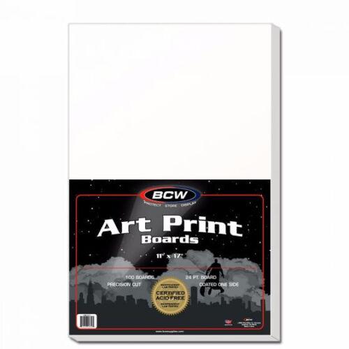 100 BCW 11x17 ART PRINT ACID FREE WHITE CARDBOARD BACKING BOARDS BACKERS