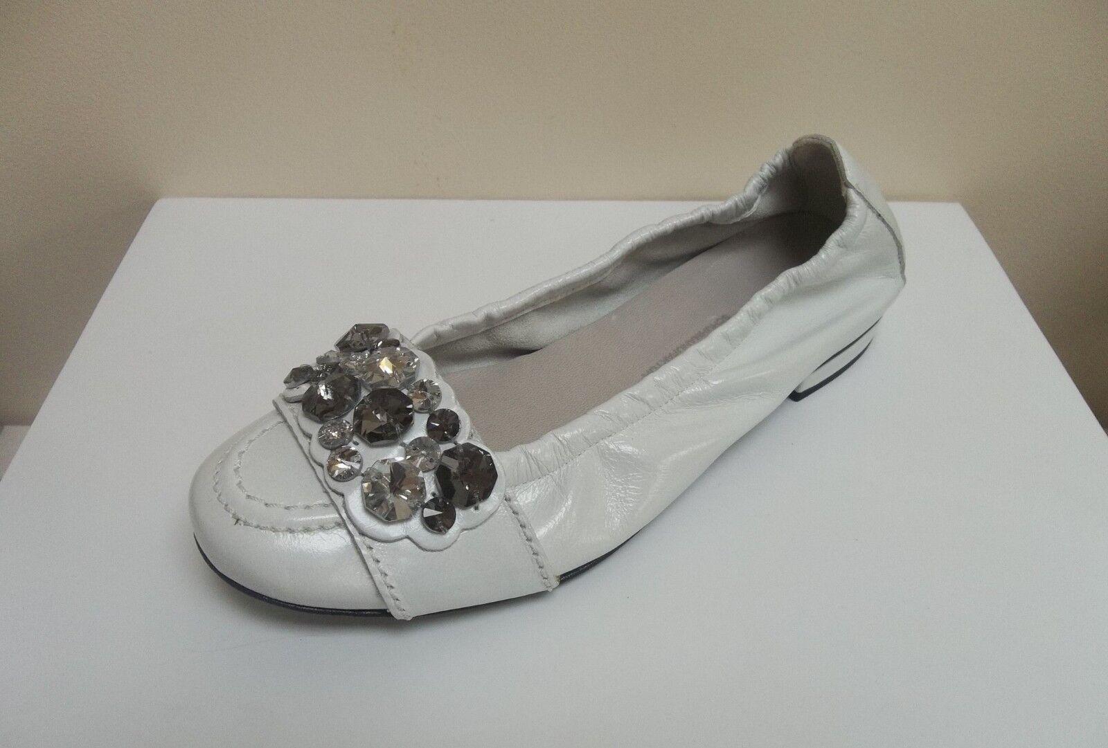K&S Malu blanc patent crystal embellished flats, UK 3 EU 36,   BNWB