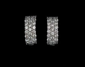 14K-Solid-White-Gold-Round-Created-Diamond-Pave-Huggie-Hoop-Earrings-1-00TCW