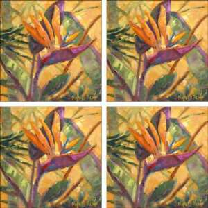Bird-of-Paradise-Accent-amp-Decor-Tile-Set-Oleson-Ceramic-Floral-Art-RW-NO012