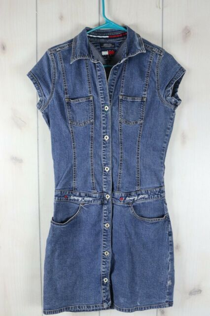 331cb616948 Vintage 90s Tommy Hilfiger Denim Button Up Dress Jumper Sz M Blue Jean  Chambray