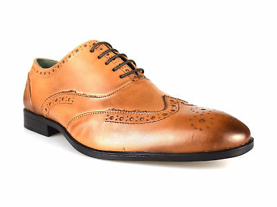 Silver Street Londres Oxford Zapatos para hombre Cuero Tostado Formal Rrp £ 55 Reino Unido P&p Gratis!
