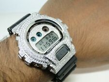 Casio Mens G Shock 6900 White Gold Finish White Simulated Diamond Watch 5.5 Ct