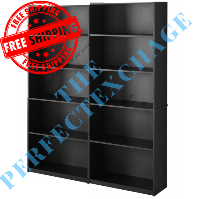 BLACK NEW Bookcase WIDE 5 Shelf Set of 2 Pcs Adjustable Home Office Bookshelf