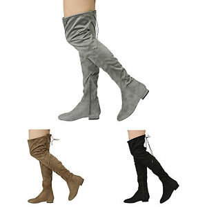 21797fd92 WOMENS LADIES HIGH OVER THE KNEE LOW HEEL FLAT LACE UP BOOTS SHOES ...