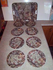 "New Set 8 Melamine Camo Realtree 8"" Plates & (1) Lg Serving Tray Picnic Outdoor"