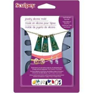 Sculpey-Bakeable-Silicone-Clay-Mold-16-Assorted-Earring-Pendant-Jewelry-Designs