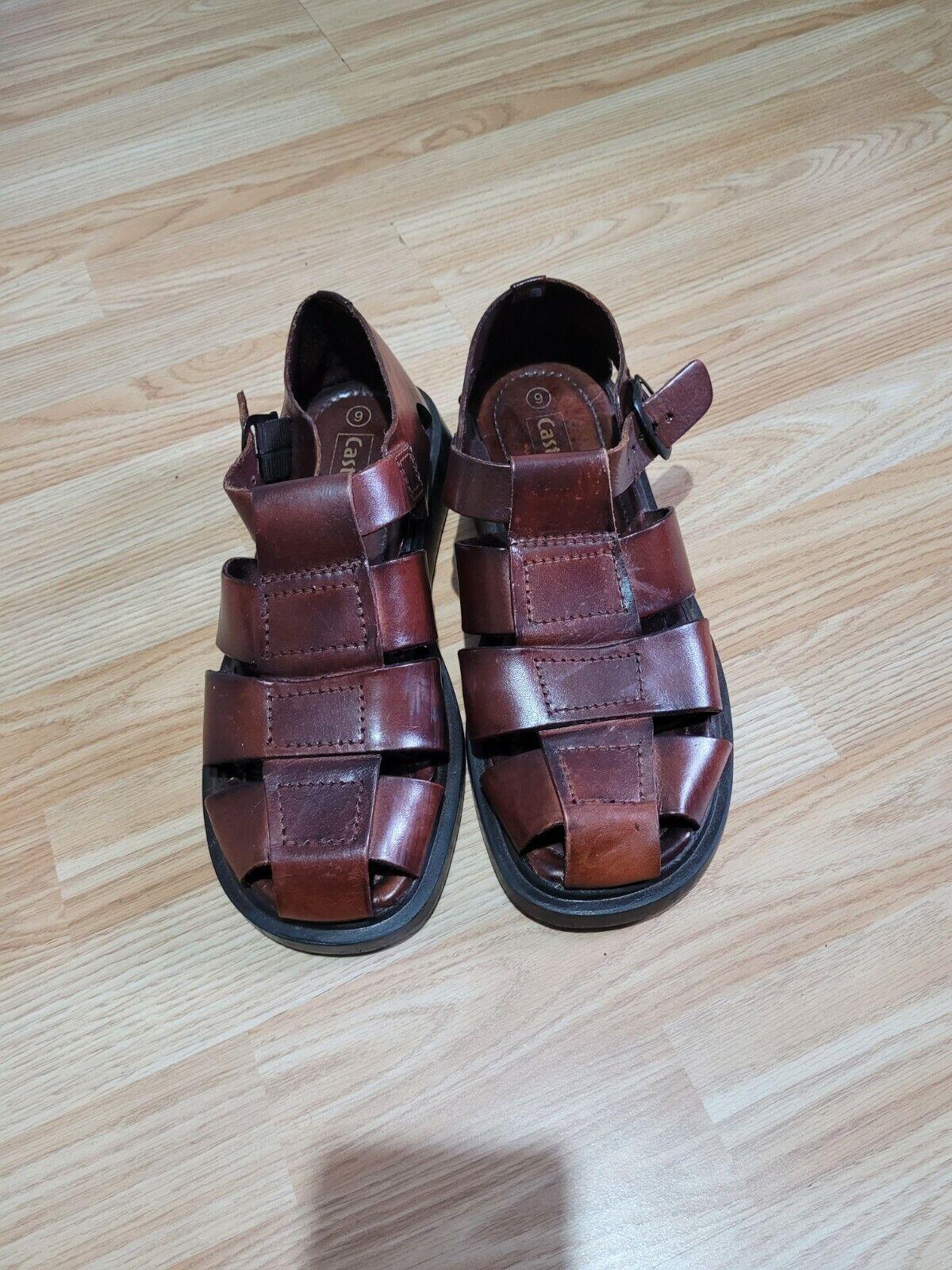 CASTAWAY Mens Leather Gladiator Sandals Brown UK 9