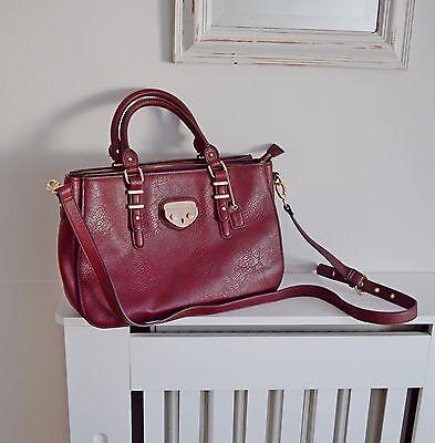 CLARKS burgundy wine RED satchel bag MESSENGER laptop IPAD work detachable strap